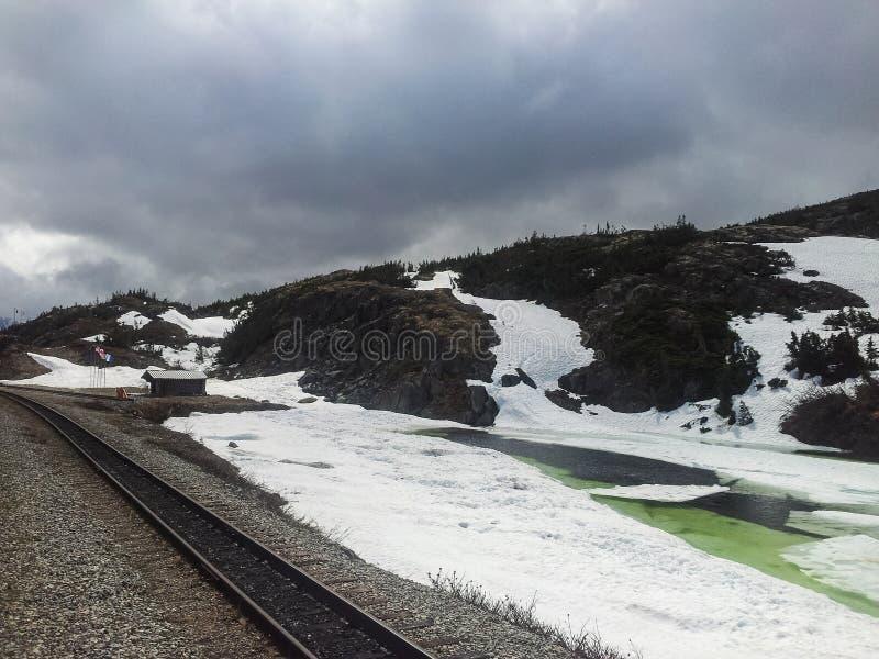 Visite de train vers le Yukon du port d'escale Skagway photo libre de droits