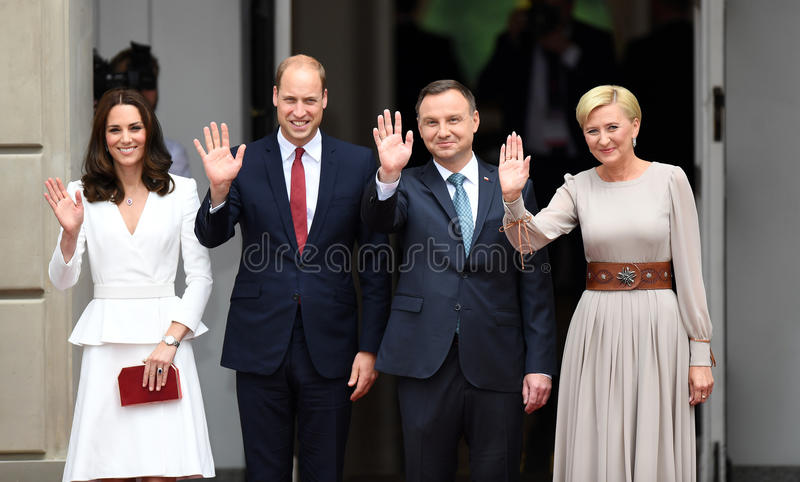 Visite de William et de Kate en Pologne photos stock