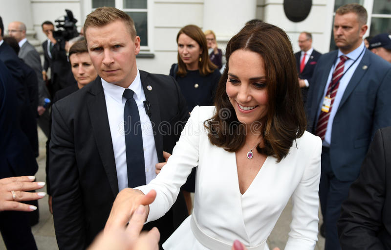 Visite de William et de Kate en Pologne photo libre de droits
