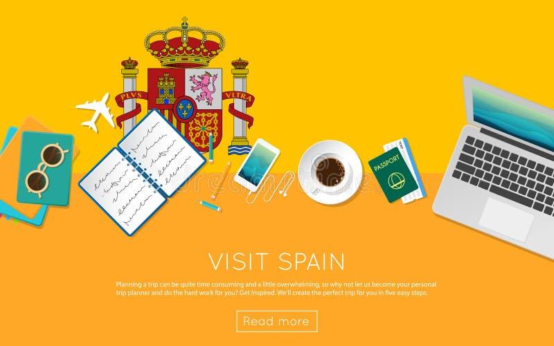 Visite el concepto de España para su bandera del web o imprima stock de ilustración