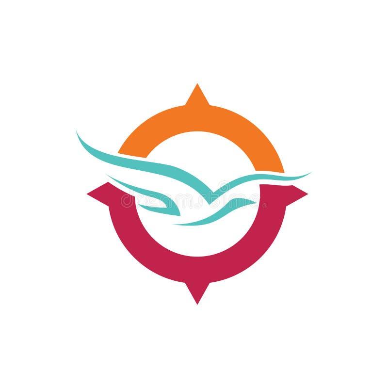 Visite globale Logo Symbol de voyage de vol d'oiseau de boussole illustration de vecteur