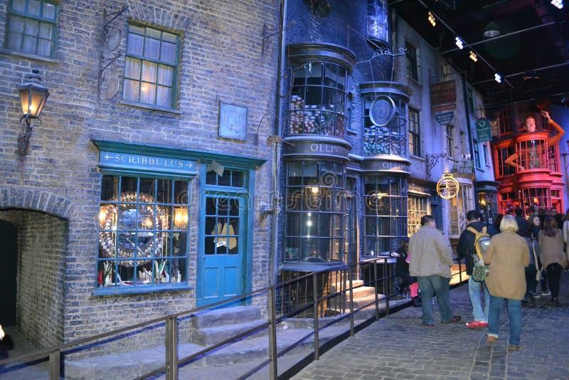 VISITE Leavesden Londres de POTIER de WARNER HARRY d'ALLÉE de DIAGON images stock
