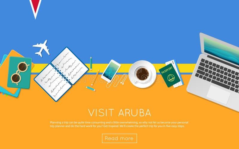 Visite o conceito de Aruba para sua bandeira da Web ou imprima-o ilustração do vetor