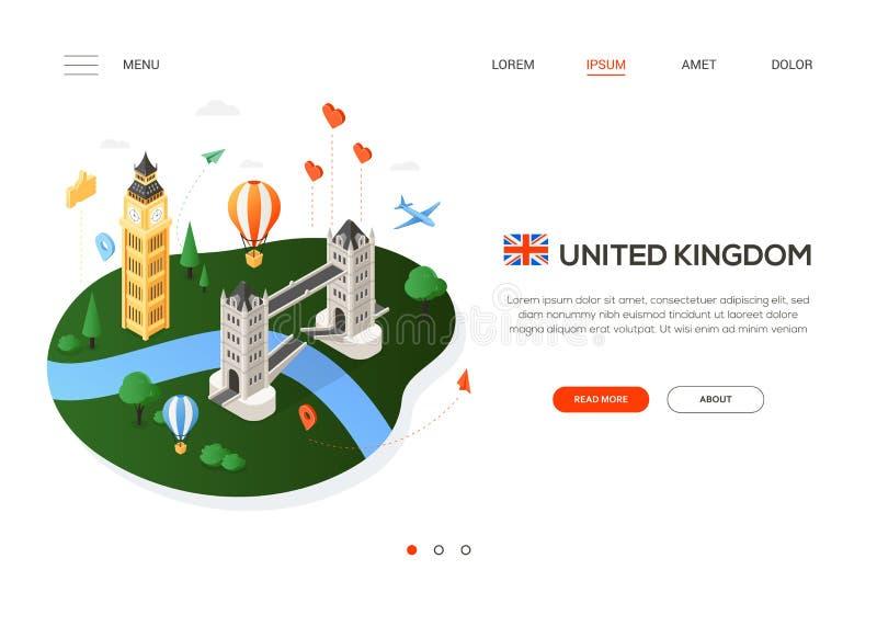 Visite o Reino Unido - bandeira isométrica colorida moderna da Web ilustração do vetor