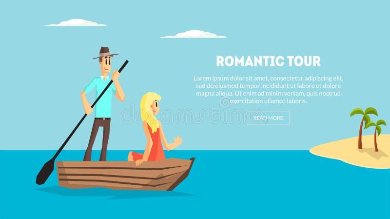 Visite romantique, voyage de couples d'amour ensemble, jeune homme heureux et femme datant sur le bateau sur le vecteur tropical  illustration stock