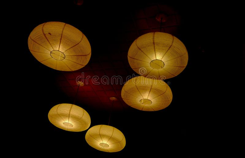 Rattan anging lanterns from Asia royalty free stock photo