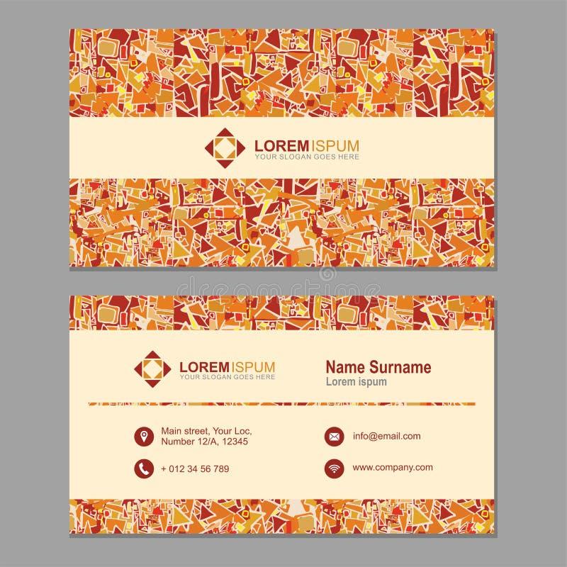 Visitekaartje, adreskaartje met abstract veelhoekig patroon Ve stock illustratie