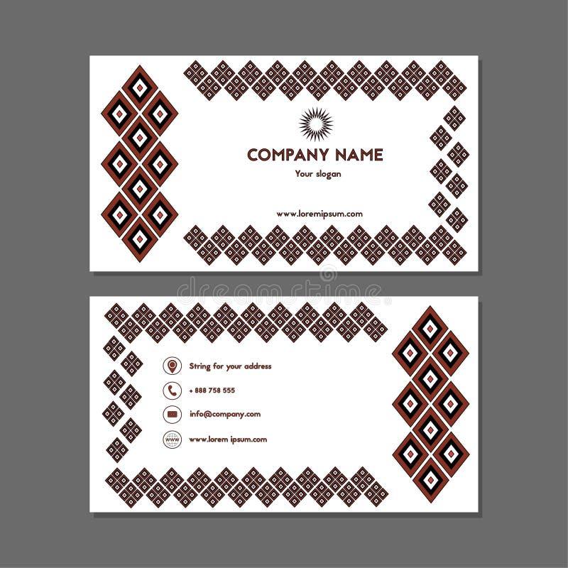 Visitekaartje of adreskaartje met zwarte en rode diamanten royalty-vrije illustratie
