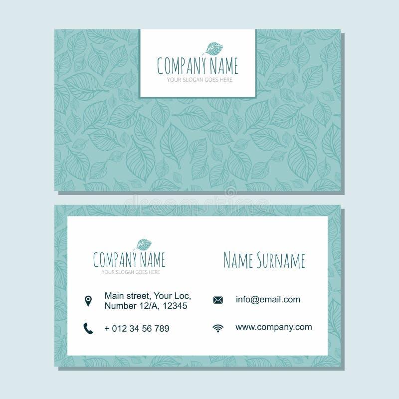 Visitenkarte businesscard Schablone mit nette Hand gezeichnetem Muster stock abbildung