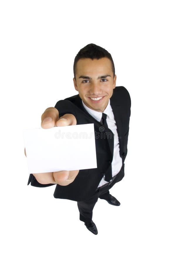 Visitenkarte in der Hand des Geschäftsmannes lizenzfreie stockfotos