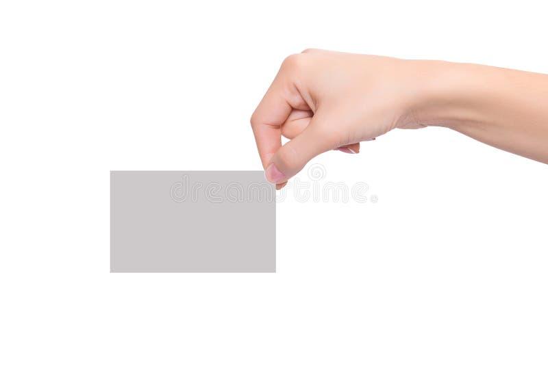 Visitenkarte des Frauenhandgriff-freien Raumes lizenzfreie stockfotografie