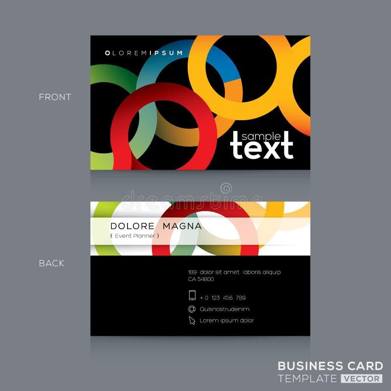 Visitenkarte-Design mit abstraktem buntem Kreisring-Formhintergrund lizenzfreie abbildung