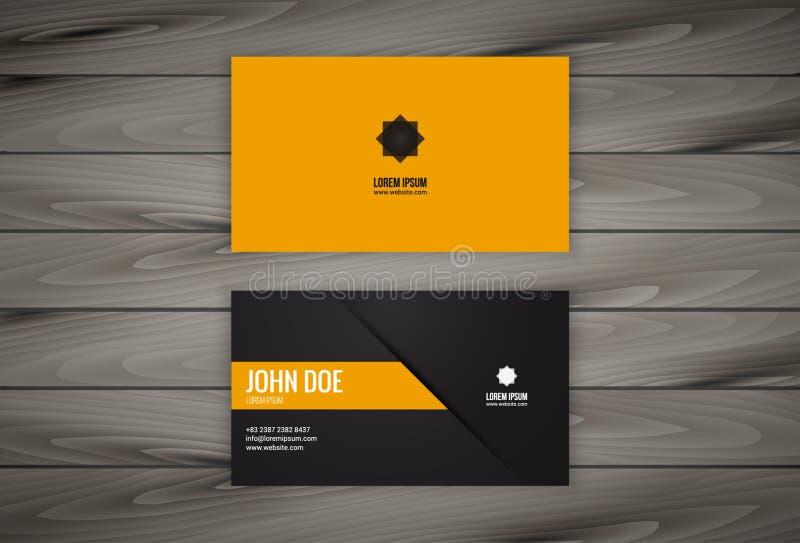 Visitenkarte-Design-Schablone mit hölzernem Hintergrund lizenzfreie abbildung