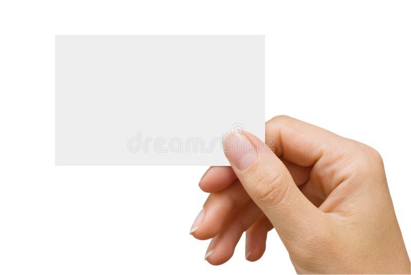Visitenkarte in einer Hand der Frauen lizenzfreies stockbild