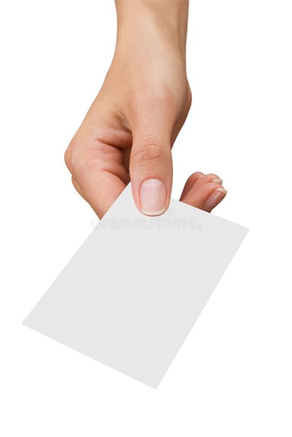 Visitenkarte in einer Hand der Frauen stockfotografie