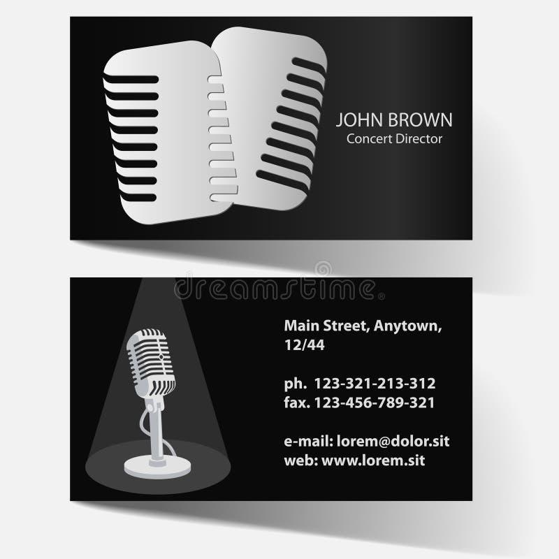 Visitenkarte mit Mikrofon stock abbildung