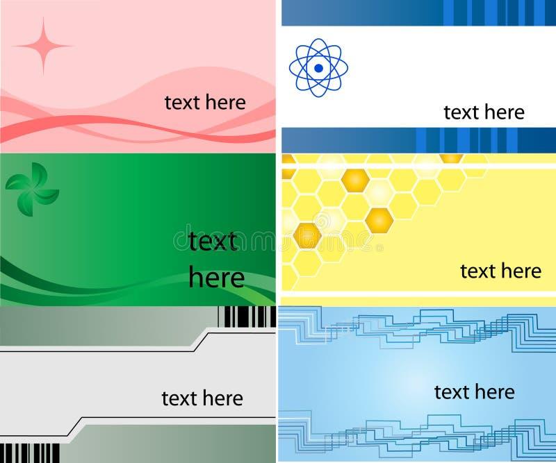 Visitenkarte, Set von 6 Auslegungen vektor abbildung