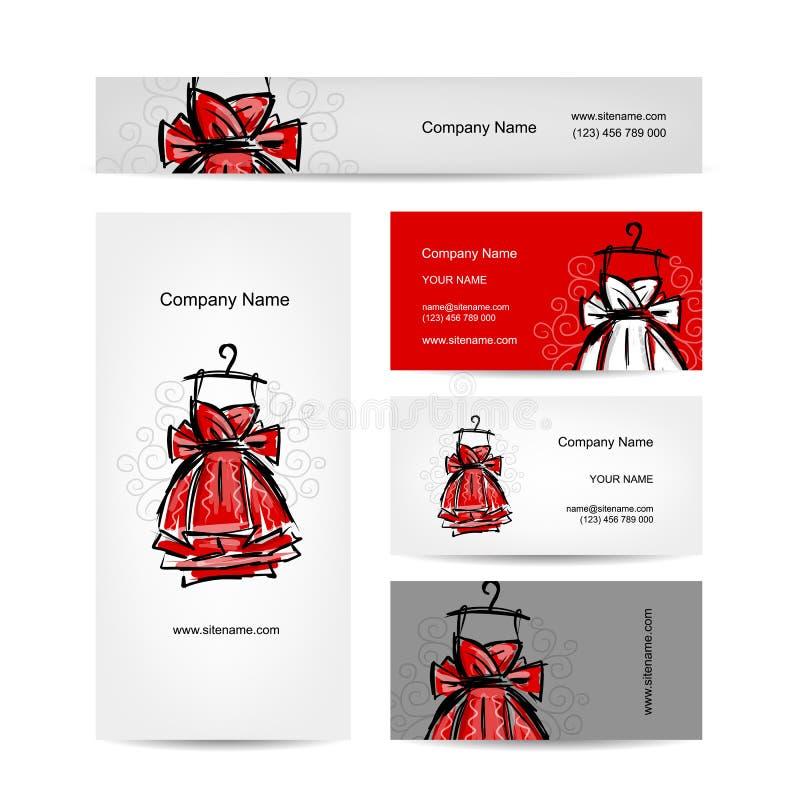 Visitenkartedesign, rotes Kleid vektor abbildung