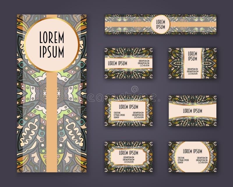 Visitenkarten, Einladungen und Fahnenschablonensatz Ethnisches Mandalamuster und -verzierungen in boho Art vektor abbildung