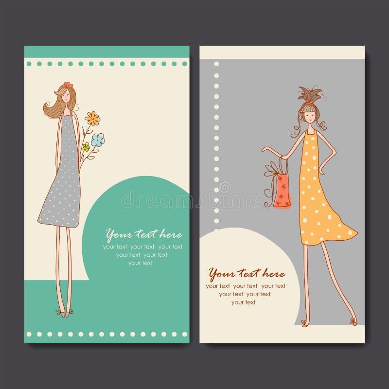 Visitenkarten mit Modemädchen lizenzfreie abbildung