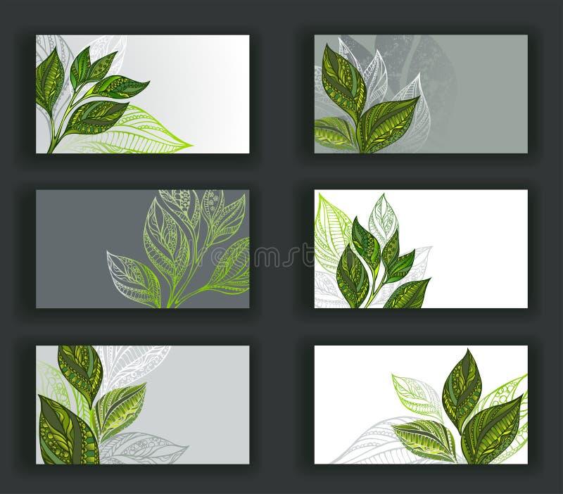 Visitenkarten mit Tee stock abbildung