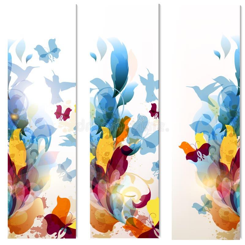 Visitenkartesatz in der psychedelischen mit Blumenart stock abbildung