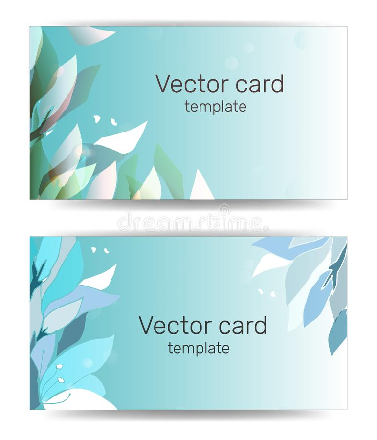 Visitenkarteschablone in den blauen Schatten mit Blumenverzierung Text-Rahmen Abstrakte geometrische Fahne stock abbildung
