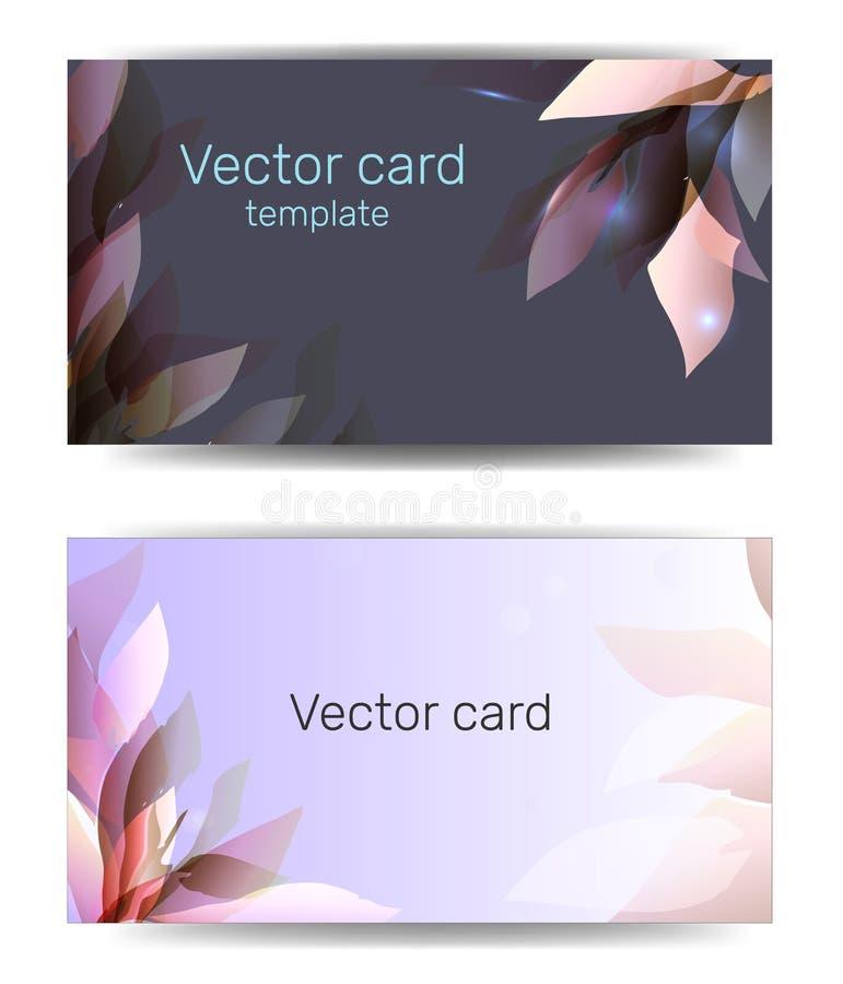 Visitenkarteschablone in den blauen Schatten mit Blumenverzierung Text-Rahmen Abstrakte geometrische Fahne vektor abbildung