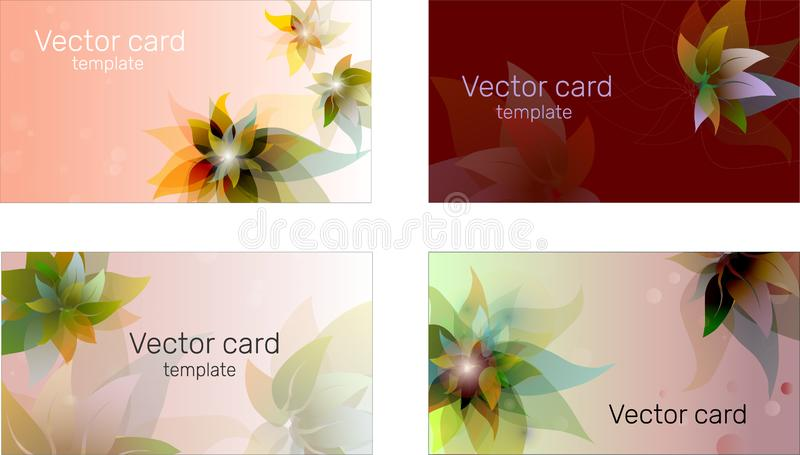 Visitenkarteschablone in den blauen Schatten mit Blumenverzierung Text-Rahmen Abstrakte geometrische Fahne lizenzfreie abbildung
