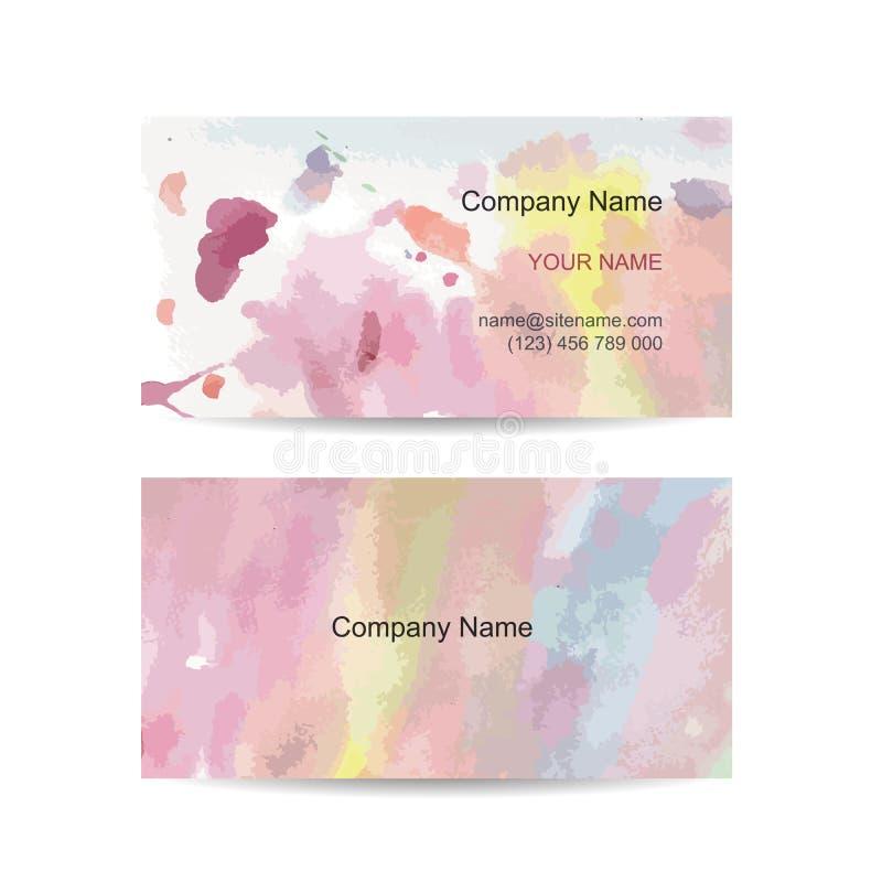 Visitenkarteschablone für Ihre Auslegung watercolor lizenzfreie abbildung