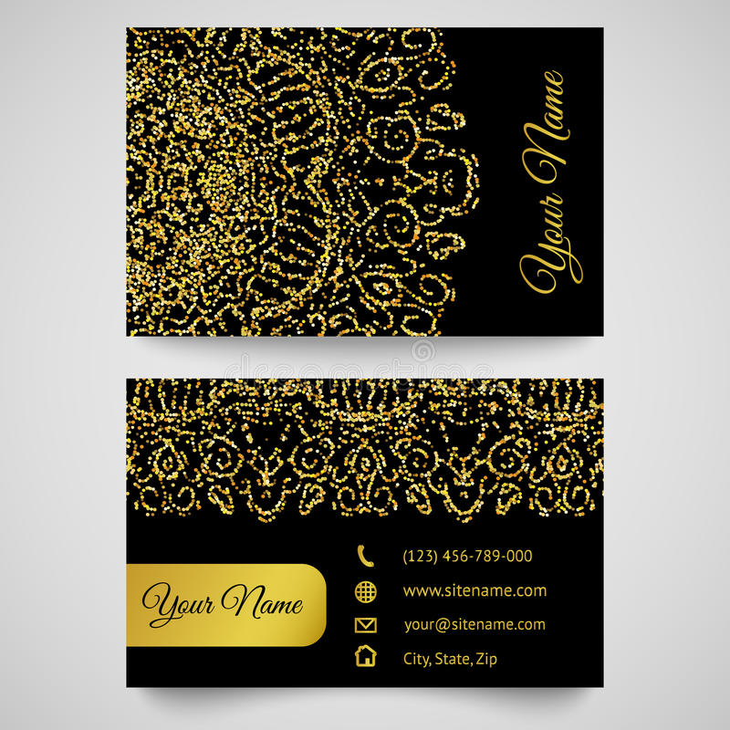 Visitenkarteschablone, goldenes Muster auf schwarzem Hintergrund vektor abbildung