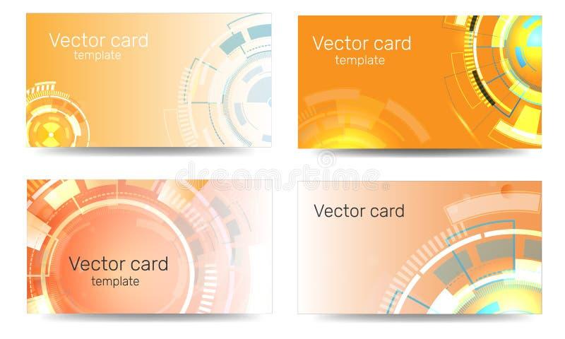 Visitenkarteschablone mit geometrischer Verzierung auf einem orange Hintergrund Text-Rahmen Abstrakte Fahne, Entwurfsschablone Te lizenzfreie abbildung