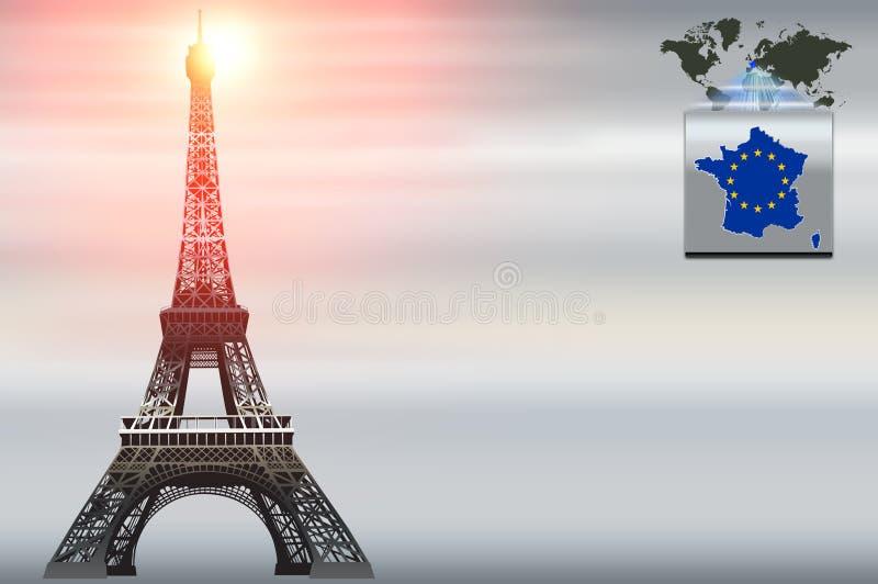 Visitenkarteschablone. Paris-Thema. lizenzfreie abbildung