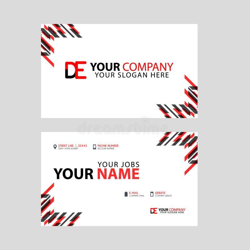 Visitenkarteschablone in Schwarzem und in Rotem mit einem flachen und horizontalen Design plus DE logo Letter auf der Rückseite lizenzfreie abbildung