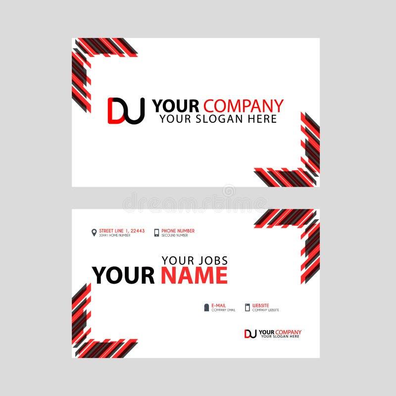 Visitenkarteschablone in Schwarzem und in Rotem mit einem flachen und horizontalen Design plus DU logo Letter auf der Rückseite vektor abbildung
