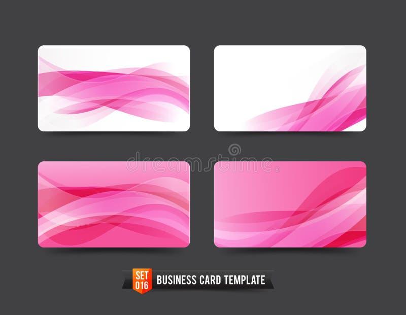 Visitenkarteschablone stellte rosa Kurvenelement der Welle 16 ein stock abbildung