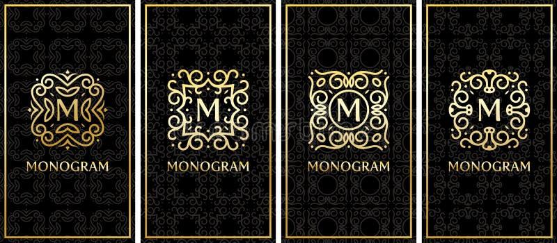 Visitenkarteschablonen mit Goldmonogramm auf schwarzem Hintergrund lizenzfreie abbildung