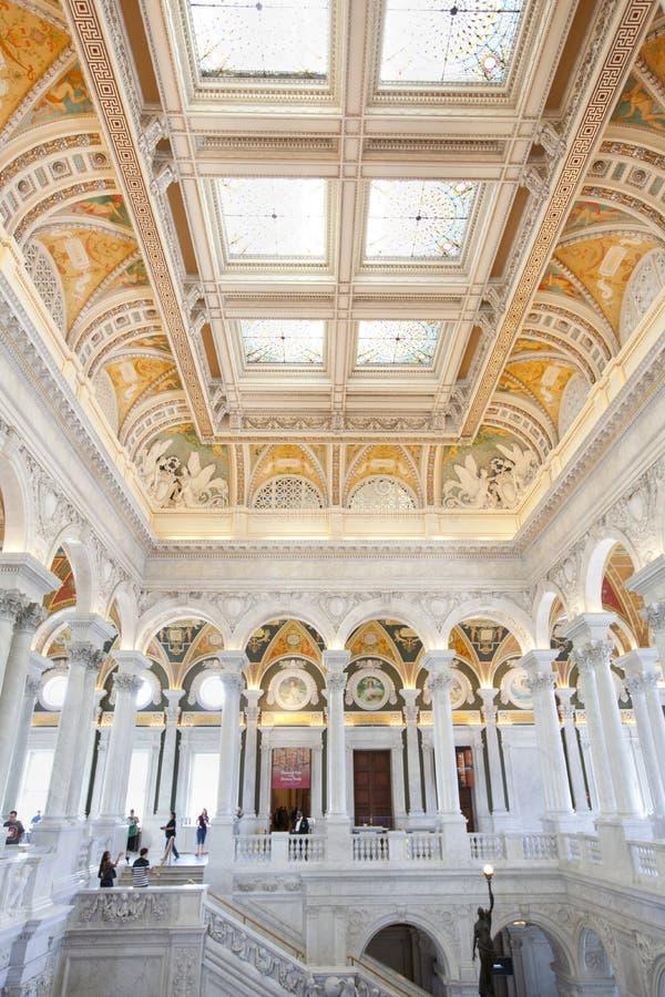 Visiteurs dans la Bibliothèque du Congrès à Washington D C photographie stock