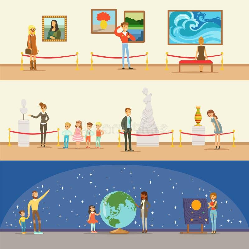 Visiteurs de musée prenant une visite de musée avec et sans un guide regardant Art And Science Exhibitions Series de illustration libre de droits