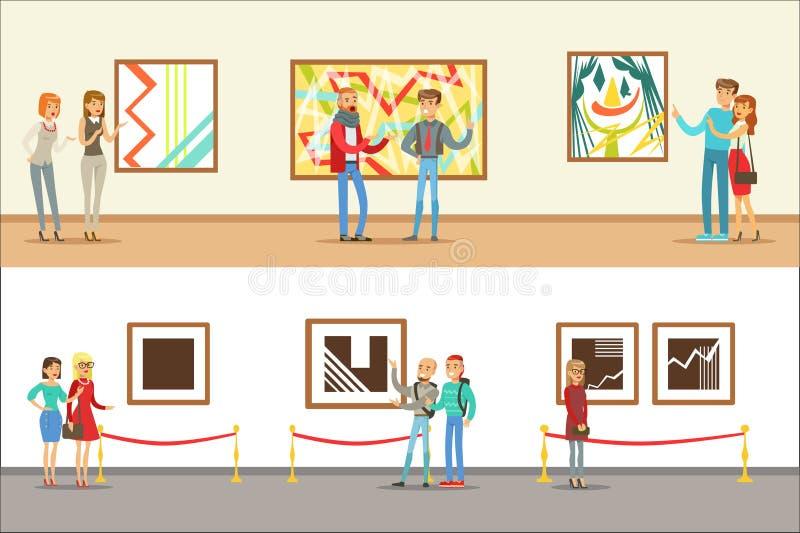 Visiteurs de mus?e prenant une visite de mus?e avec et sans un guide regardant Art And Science Exhibitions Set DE illustration de vecteur