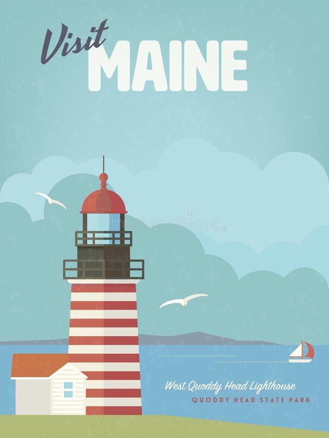 Visitez l'affiche de vintage de Maine avec le phare occidental de tête de Quoddy illustration stock