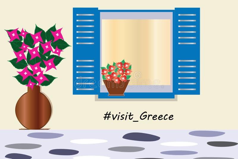 Visitez le logo de la Grèce - fenêtre bleue grecque traditionnelle avec le vecteur de fleurs de bouganvillée illustration libre de droits