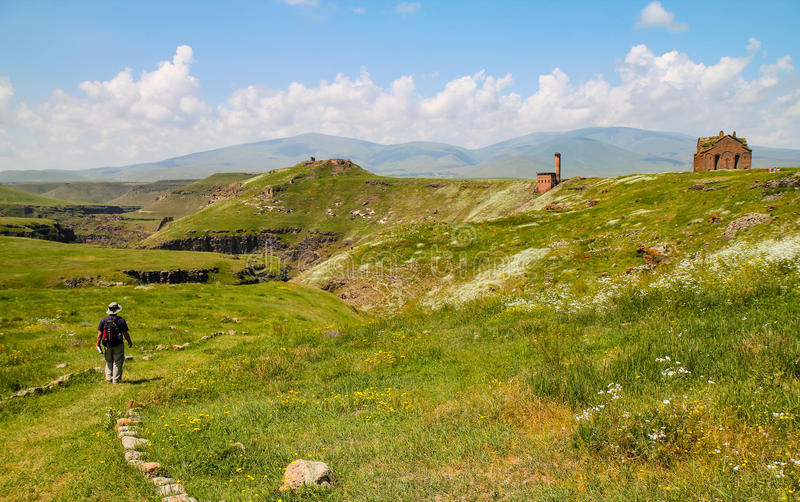 Visiting Ani ruins. Ani ruins are the most important Armenian style site in east of Turkey stock photography