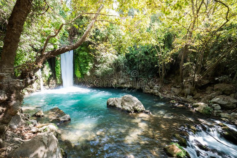 Visiting Banias Nature Reserve in Northern Israel. In the morning stock photography