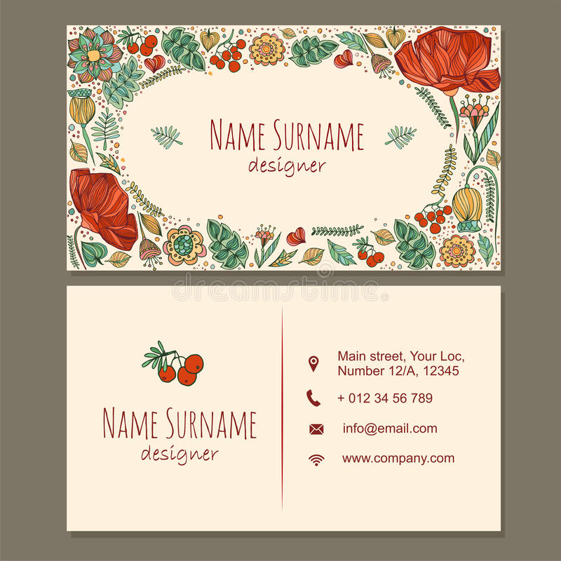Visiting Card. Business Card With Cute Hand Drawn Floral Pattern ...
