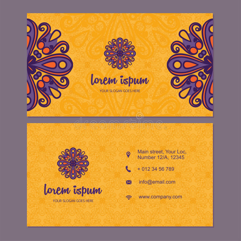Visiting card and business card set with mandala design element royalty free stock photos
