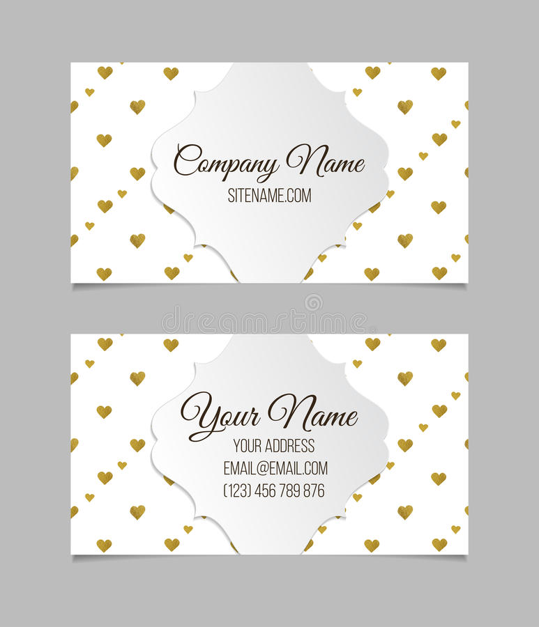 Visiting card with golden foil heart shape design. Business card template. Visiting card with golden foil hearts. Double-sided vector business card stock illustration