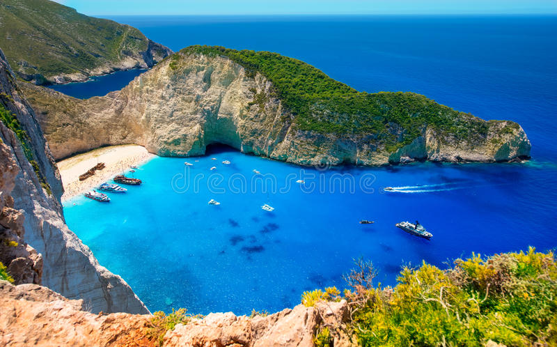 Visiting card of the island of Zakynthos. Bay Navagio. royalty free stock images