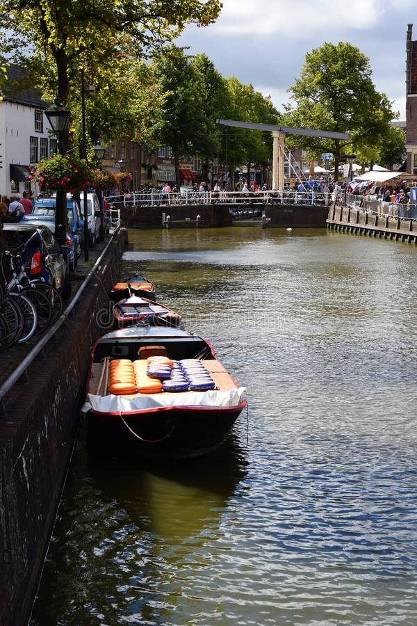 Boats full of cheese from the Kaasmarkt Alkmaar, the city with its famous cheese market - Holland, the Netherlands stock images