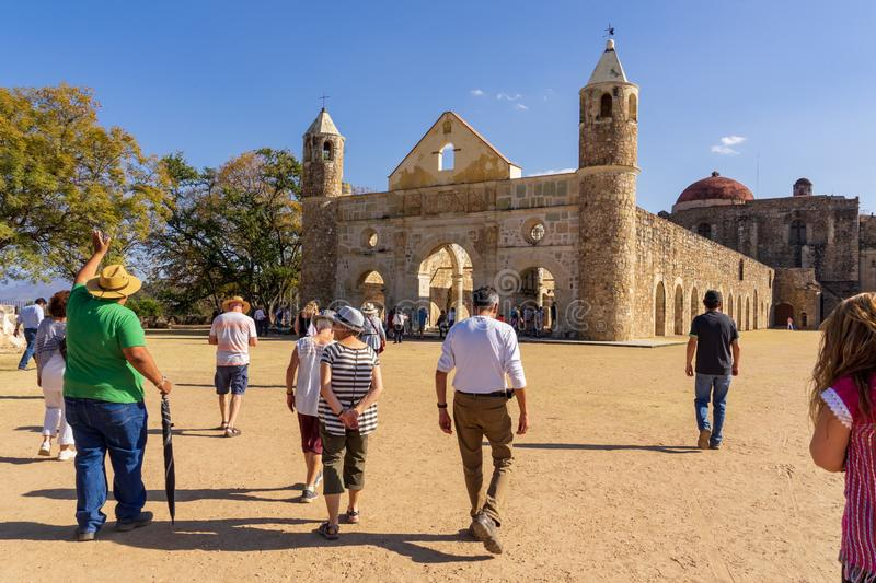 Visiting Cuilapam covent , Mexico. Cuilapam covent, in Oaxaca area, was built in 1555 by Dominican priests to evangelize Indians in the area stock photos